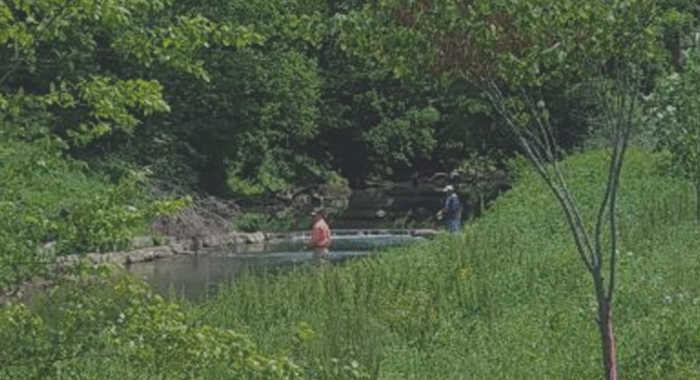 Fishing at the former Harpeth River lowhead dam site. Photo by HRWA.